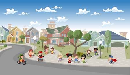 residential neighborhood: Cute happy cartoon kids playing in the street of a retro suburb neighborhood. Cartoon city.
