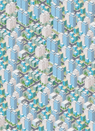 financial district: Cartoon isometric city with buildings