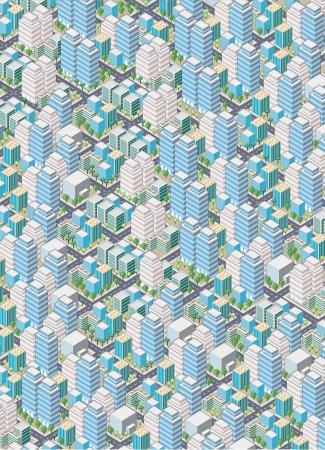 Cartoon isometric city with buildings