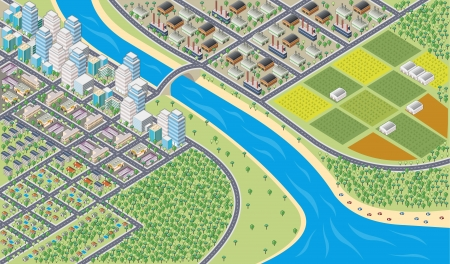 suburb: Colorful cartoon isometric city with river