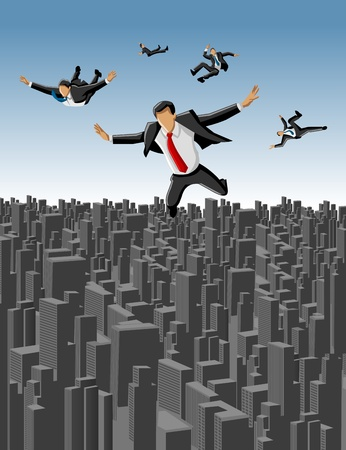 Template of businessmen falling over big city landscape Vector