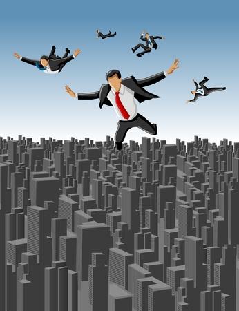sky dive: Template of businessmen falling over big city landscape