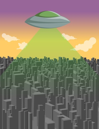 flying saucer: Flying saucer  UFO over big city landscape
