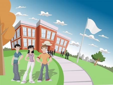 estudiantes de colegio: Grupo de estudiantes frente a la escuela primaria