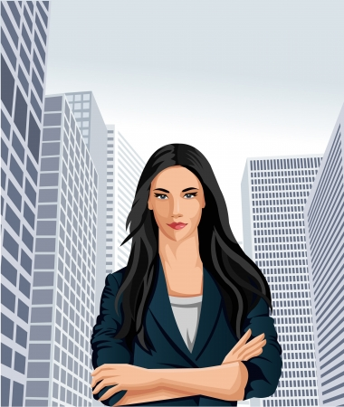 Template of a business woman wearing blue suit with office buildings on the background Stock Vector - 18452279