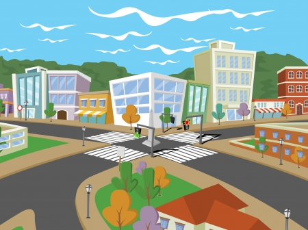 residential neighborhood: Colorful cartoon city with houses and buildings