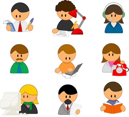 messy office: set of funny vector people icons