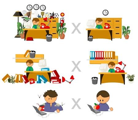 oficina desordenada: conjunto de iconos vectoriales personas divertidas