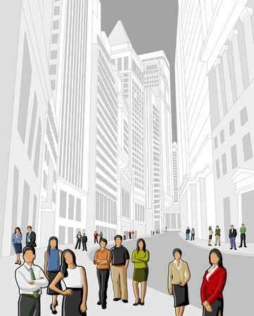 business district: Group of business people on the street of downtown financial district in New York