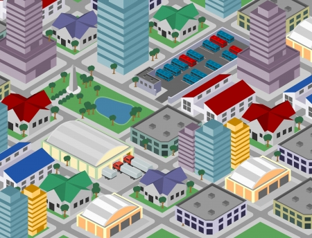 residential neighborhood: Big colorful cartoon isometric city  Illustration