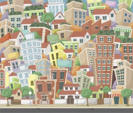 근교: 주택과 건물과 화려한 만화 도시 일러스트