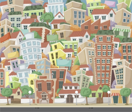 Colorful cartoon city with houses and buildings Vector