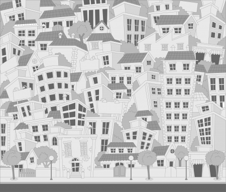 residential neighborhood: Cartoon city with houses and buildings Illustration