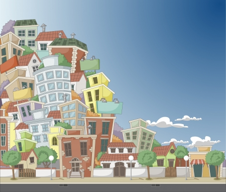 Colorful cartoon city with houses and buildings Stock Vector - 18452387