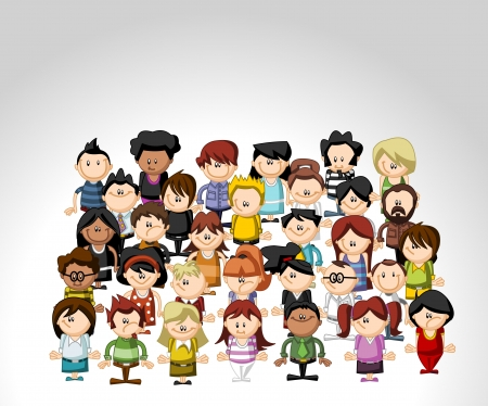Template of a group of funny cartoon people  Vector
