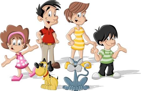 perro familia: Colorido familia linda feliz de la historieta Vectores