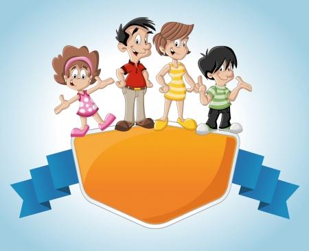 niños con pancarta: Plantilla con una familia feliz de la historieta linda
