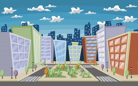 Colorful cartoon city with houses and buildings
