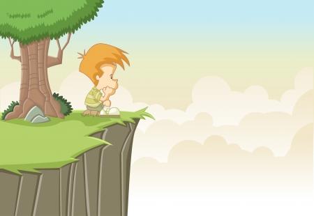 Sad cute cartoon jongen denken op de top van een heuvel Vector Illustratie