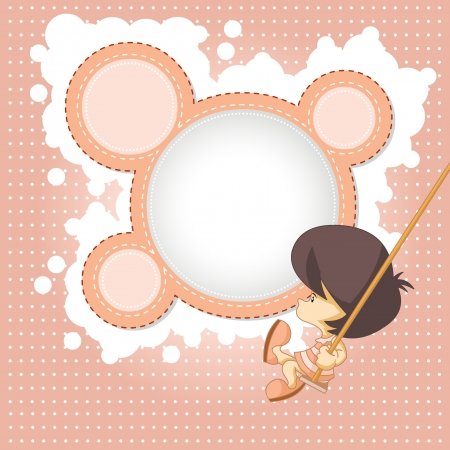 Pink template for advertising brochure with a cute cartoon girl on a swing Vector