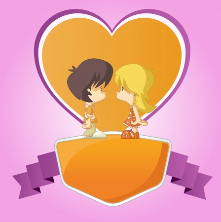 Pink and orange template for advertising brochure with a Couple of cute cartoon kids in love Vector