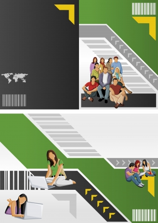 page layout: Green and yellow template for advertising brochure with students