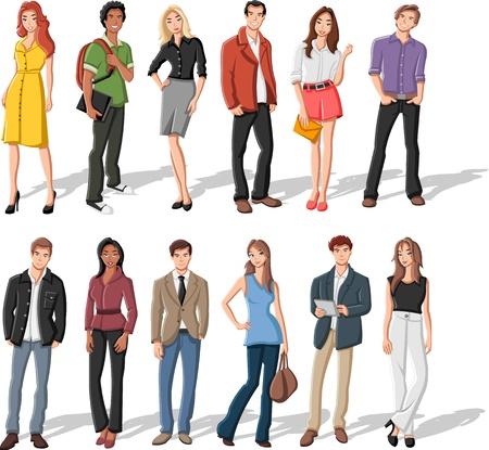 Groep van de mode cartoon jongeren