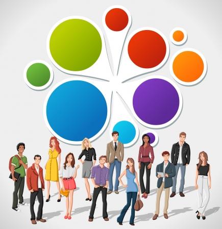 Plantilla colorida para el folleto publicitario con la gente de dibujos animados de moda joven