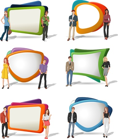Cartoon young people in front of colorful screens