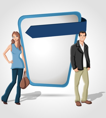 Cartoon young couple in front of blue template screen