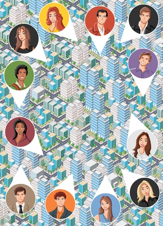 Big isometric city with cartoon young people faces. Neighbors. Vector