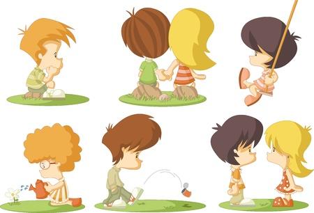 sad love: Group of cute cartoon kids in love