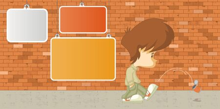 Sad boy kicking a can in front of a orange brick wall with empty boards Vector