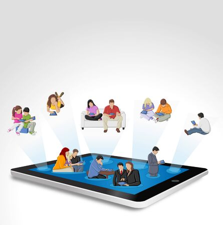 portable player: Tablet with big group of people Illustration