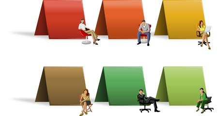 manager team: Colorful paper cards with business people on chair