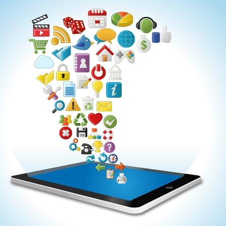 mobilhome: Tablette avec Internet et le site Web ic�nes Set