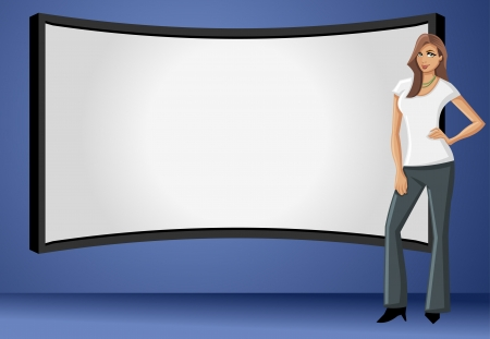 teach: Business woman wearing black suit with presentation screen  Illustration