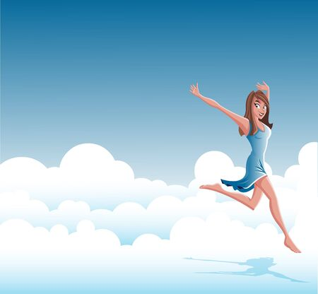 freedom woman: Cartoon young happy woman wearing blue jumping on clouds