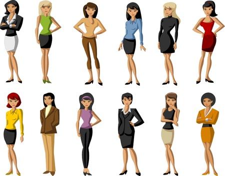 Groupe des Belles filles de dessin animé Vecteurs