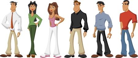 juvenile: Group of cute happy cartoon people