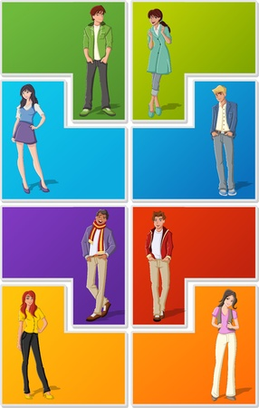 Colorful template for advertising brochure with fashion cartoon young people. Teenagers. Stock Vector - 18757950