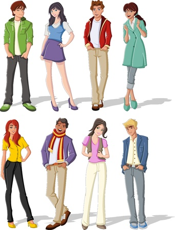 teen: Group of fashion cartoon young people. Teenagers. Illustration