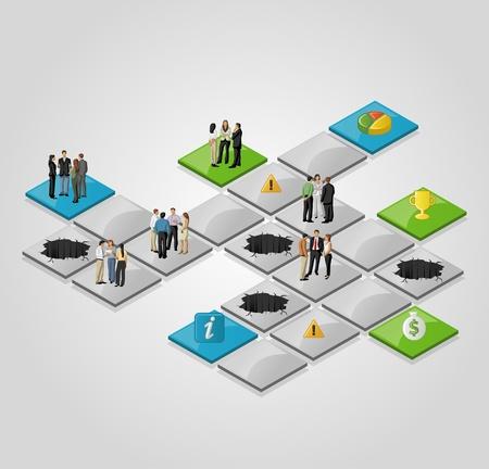 brettspiel: Brettspiel mit Gesch�ftsleuten �ber den Weg.
