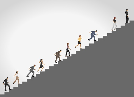 woman stairs: Business people climbing high stair.