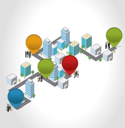 Schablone mit Geschäftsleuten in der Straße von einer isometrischen Stadt Vektorgrafik