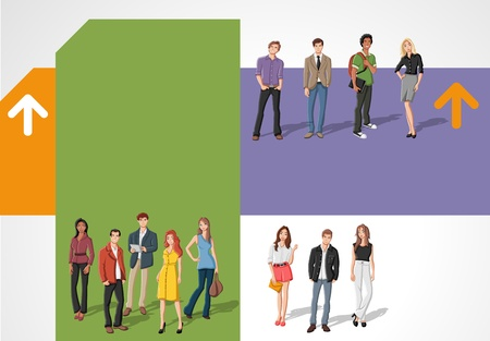 Colorful template for advertising brochure with young people Vector