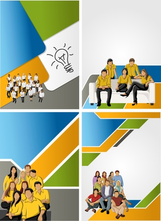 coworker banner: Colorful template for advertising brochure with business people