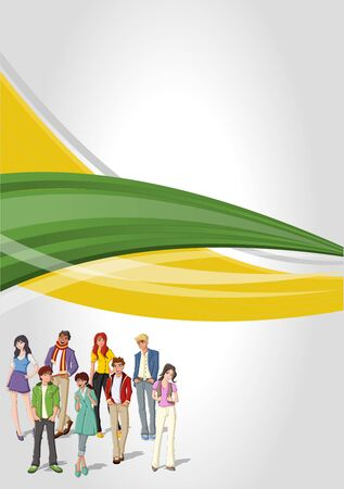 Green and yellow template for advertising brochure with young people. Teenagers. Vector