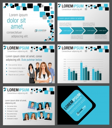 magazine page: Template for advertising brochure with business people
