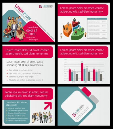 colorful slide: Template for advertising brochure with business people